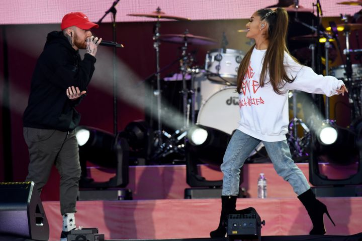 Mac Miller and Ariana Grande perform onstage on June 4, 2017, in Manchester, England, for the 'One Love Manchester' bene