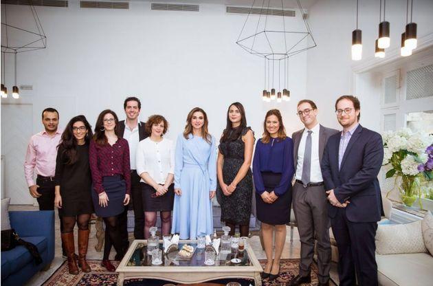 Sa Majesté la Reine Rania De Jordanie avec l'équipe Flat6Labs