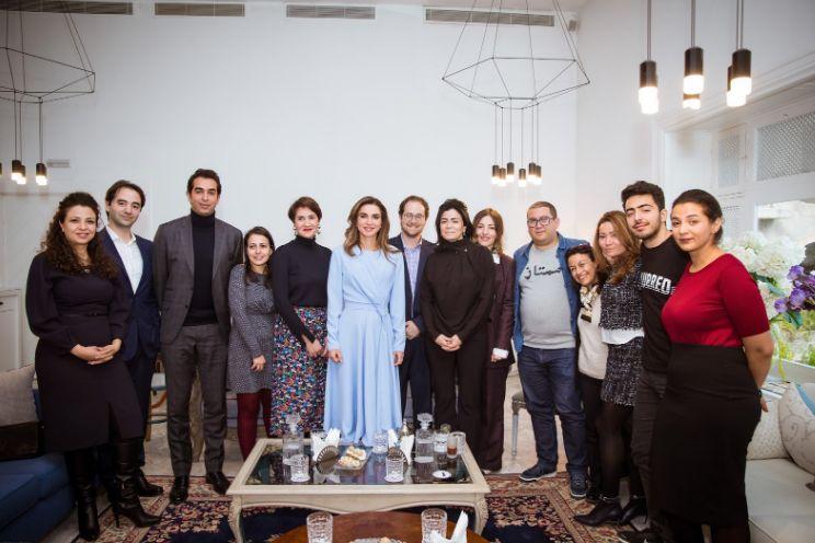 Sa majesté la Reine Rania De Jordanie avec différents acteurs de l'écosystème...