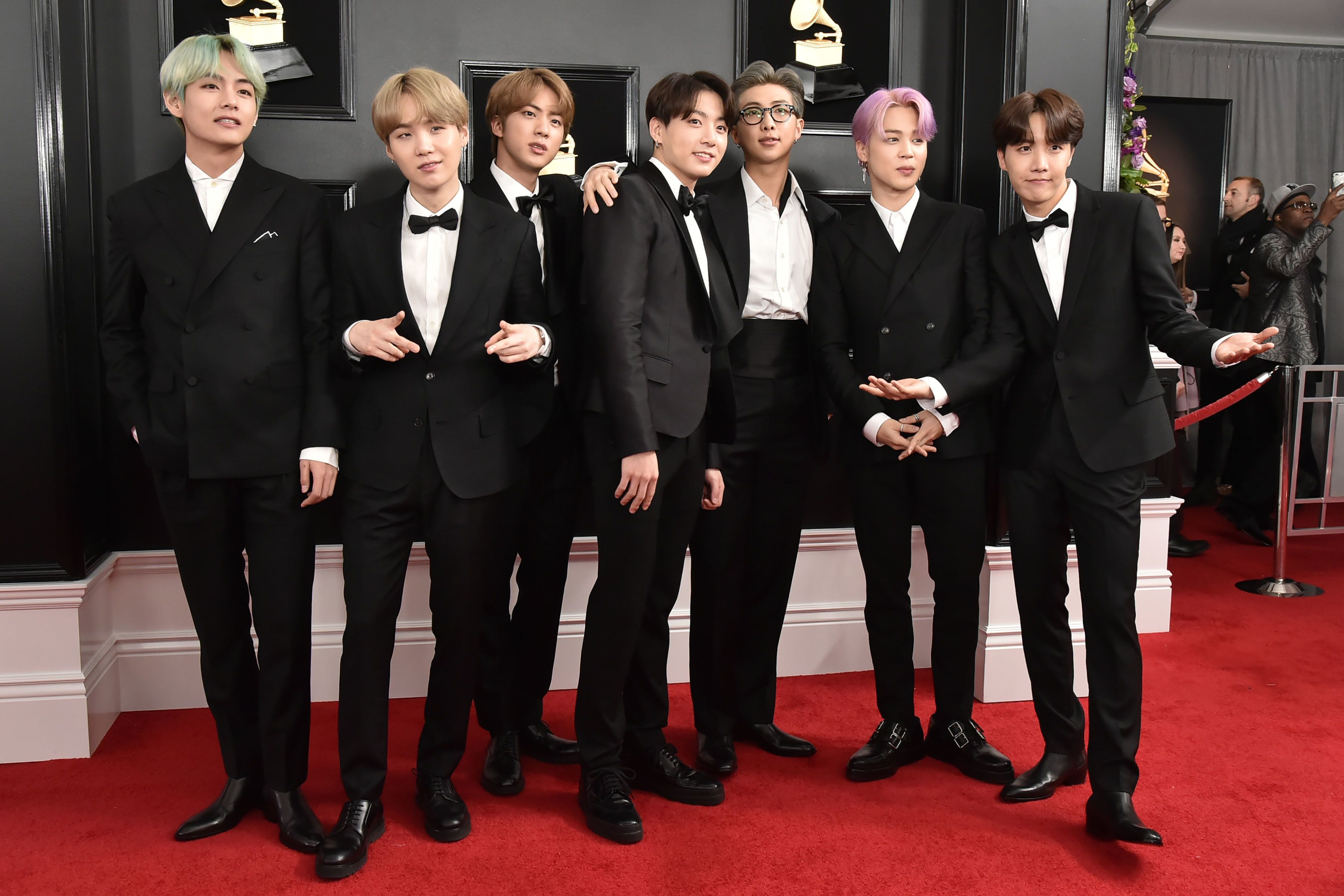 BTS at the Grammy Awards in Los Angeles on Feb. 10. The group became the first Korean act to attend and appear onstage at the
