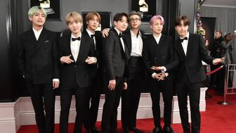 LOS ANGELES, CALIFORNIA - FEBRUARY 10: Jin, Suga, J-Hope, RM, Jimin, V, Jungkook of BTS attend the 61st Annual Grammy Awards at Staples Center on February 10, 2019 in Los Angeles, California. (Photo by David Crotty/Patrick McMullan via Getty Images)