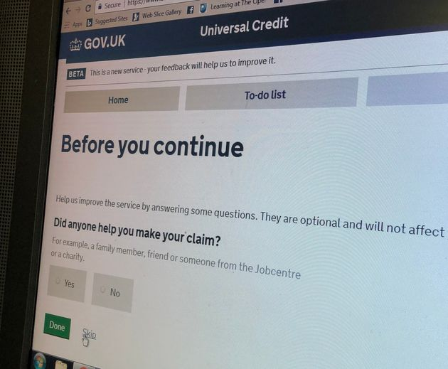 The Universal Credit online application form asks 'Did anyone help you make your