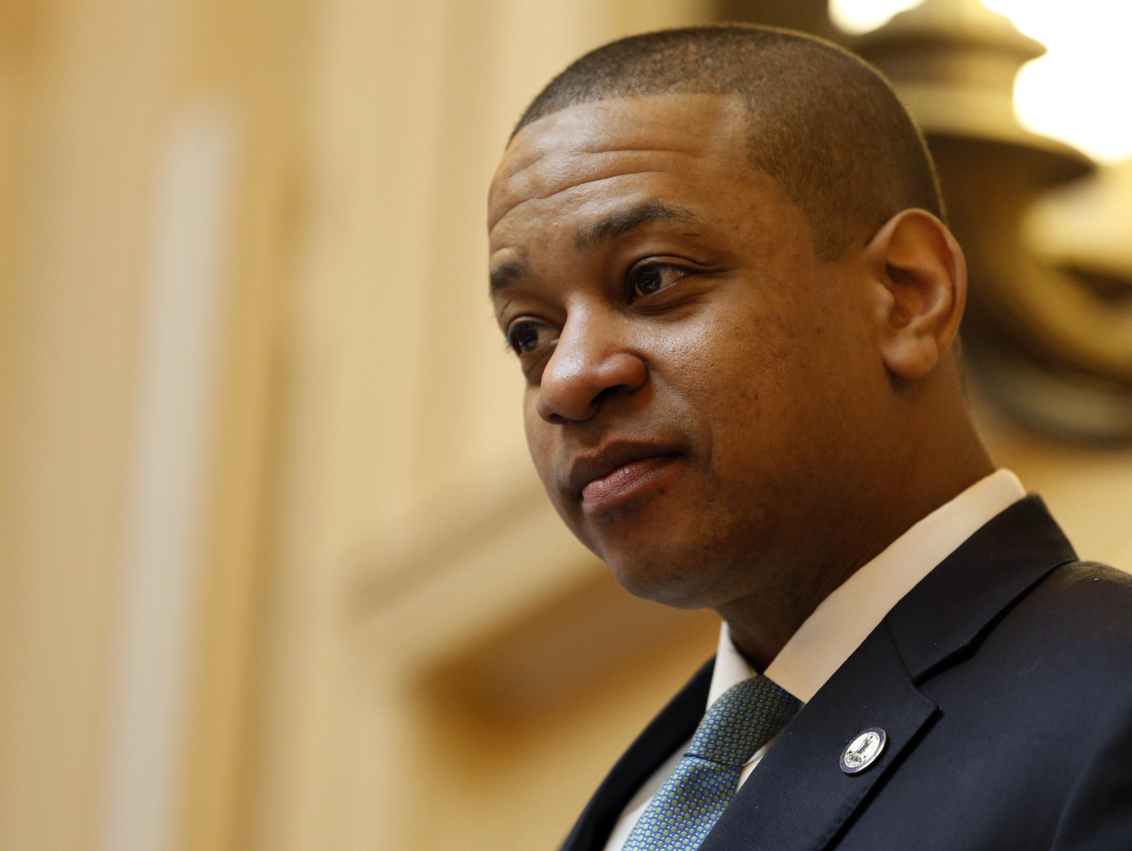 Virginia Lt. Gov. Justin Fairfax, seen presiding over the state Senate in Richmond on Monday, faces calls...