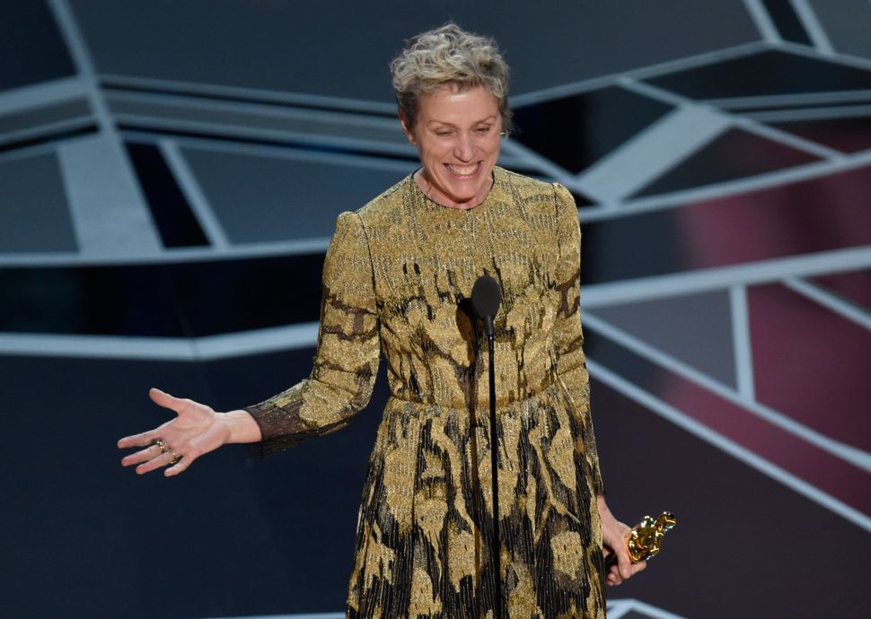 "Frances McDormand accepts the Best Actress Oscar last year for ""Three Billboards Outside Ebbing, Missouri."""
