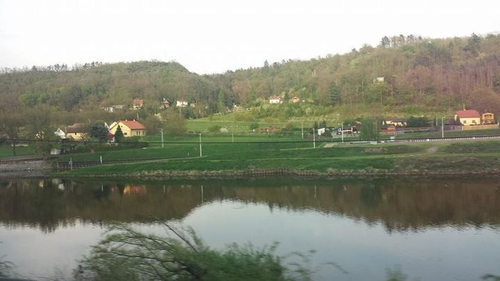 The view from a window on a train from Berlin to Prague.