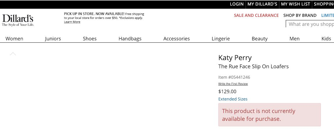 "How the page for Katy Perry's ""Rue Face Slip On Loafers"" looked at one point on Dillard's website Monday afternoon."