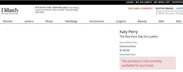 "How the page for Katy Perry's ""Rue Face Slip On Loafers"" looked at one point on Dillard's..."