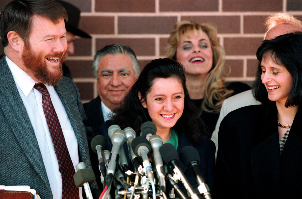 Lorena Bobbitt outside court after her acquittal inFebruary