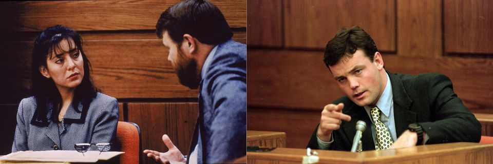 Lorena Bobbitt and her lawyer James Lowe (left) and John Wayne Bobbitt (right) during her trial in