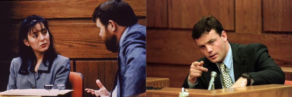 Lorena Bobbitt and her lawyer James Lowe (left) and John Wayne Bobbitt (right) during her trial in 1994.