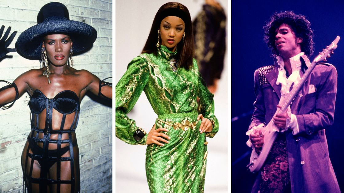 From left to right: Grace Jones, Tyra Banks, Prince