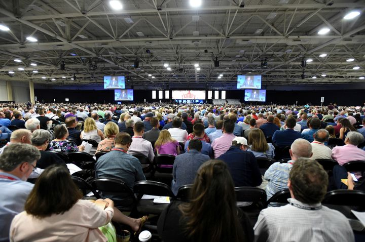 Attendees listen to a speaker at the June meeting of the Southern Baptist Convention.