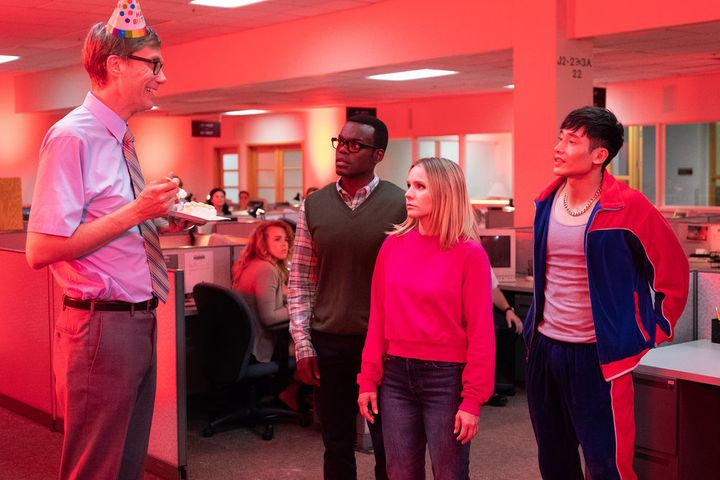 "Just another chaotic office birthday party on ""The Good Place."""