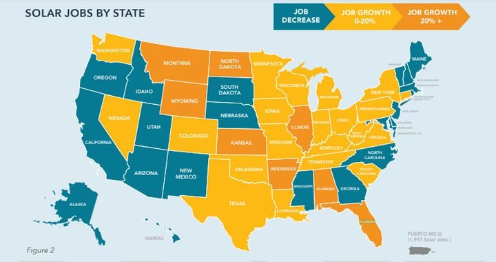 A map from the report shows where jobs increased and decreased from 2017 to 2018.