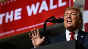President Donald Trump speaks during a rally in El Paso, Texas, Monday, Feb. 11, 2019. (AP Photo/Susan Walsh)