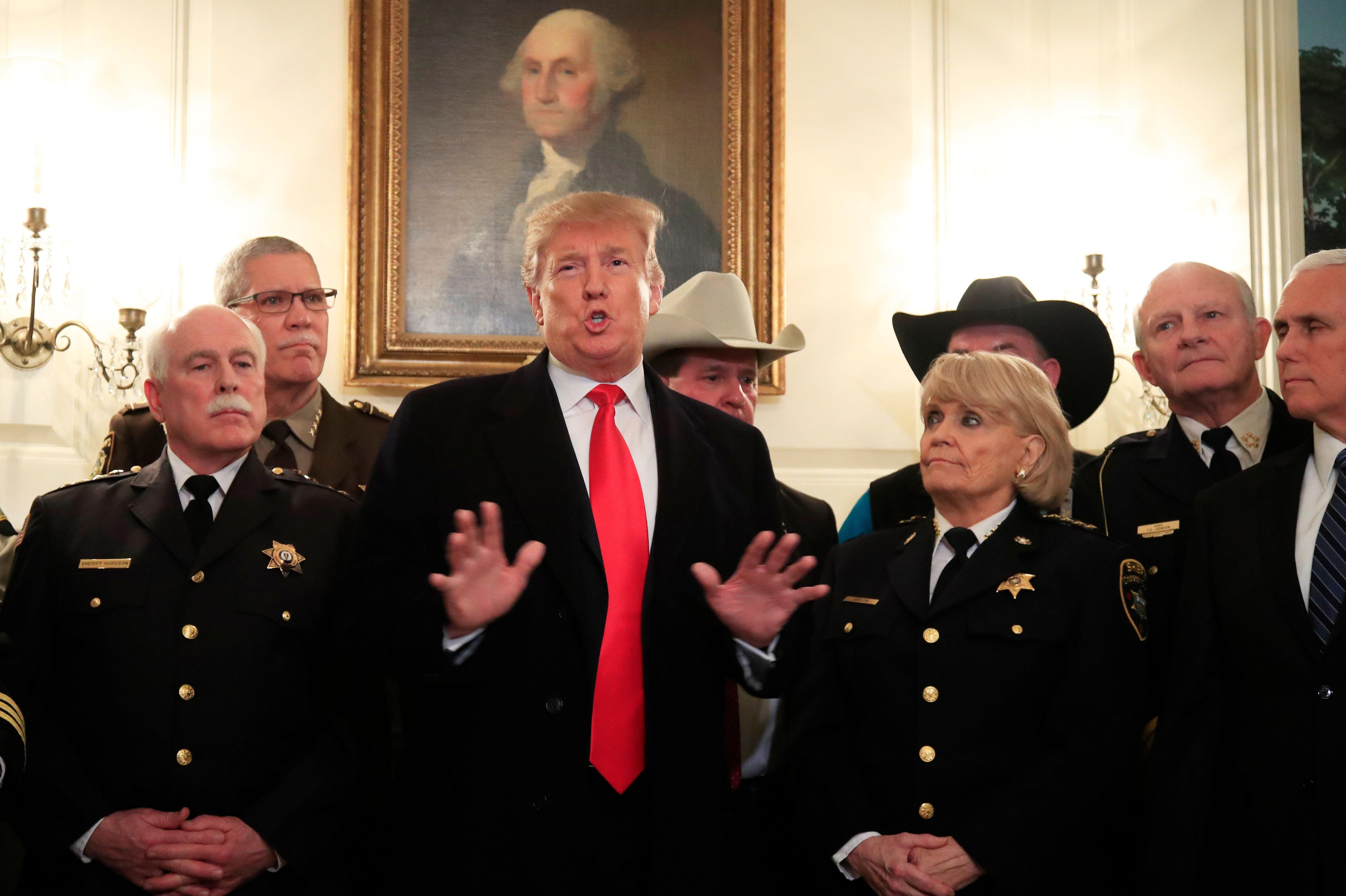 President Donald Trump met with a group of sheriffs from around the country before traveling to El Paso, Texas for a campaign rally on Monday.