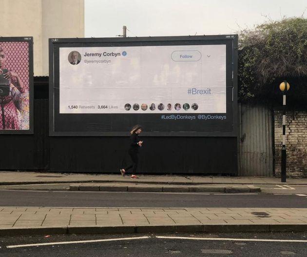 Jeremy Corbyn Is The Latest Victim Of The 'Led By Donkeys' Brexit Billboard