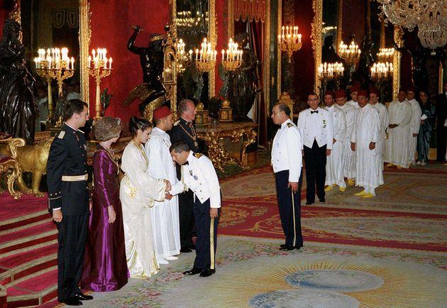 Gala organisé en l'honneur du roi Mohammed VI. De gauche à droite, le prince Felipe, la...