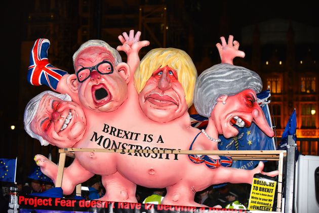 A Brexit protest seen outside of Westminster at the time of the meaningful
