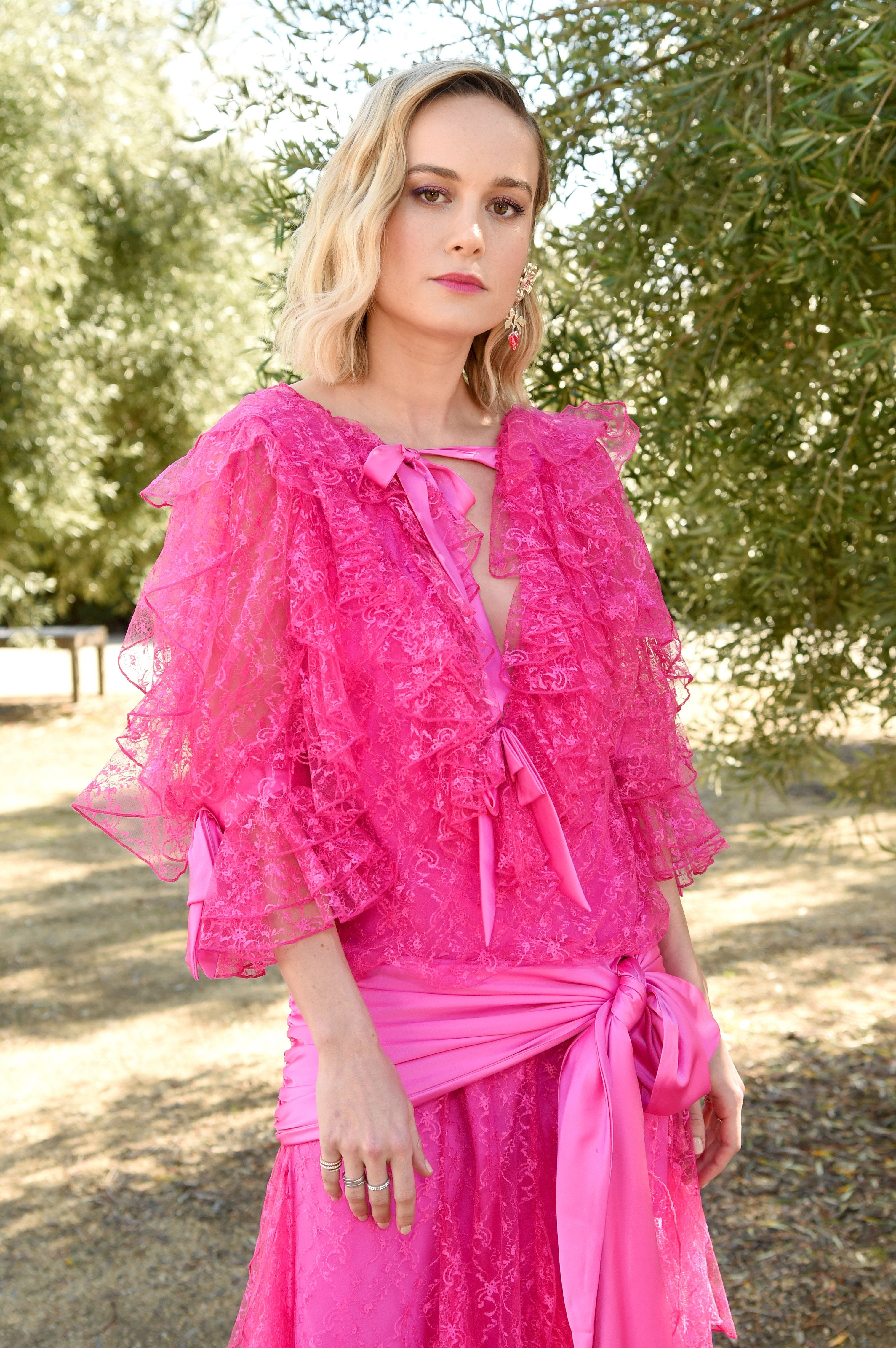 PASADENA, CA - FEBRUARY 05:  Brie Larson attends JNSQ Rose Cru debuts alongside Rodarte FW/19 Runway Show at Huntington Library on February 5, 2019 in Pasadena, California.  (Photo by Michael Kovac/Getty Images for JNSQ Wines)
