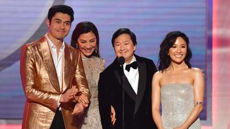 (L_R)  Henry Golding, Michelle Yeoh, Ken Jeong and Constance Wu from the film 'Crazy Rich Asians' onstage during the 25th Annual Screen Actors Guild Awards show at the Shrine Auditorium in Los Angeles on January 27, 2019. (Photo by Frederic J. BROWN / AFP)        (Photo credit should read FREDERIC J. BROWN/AFP/Getty Images)