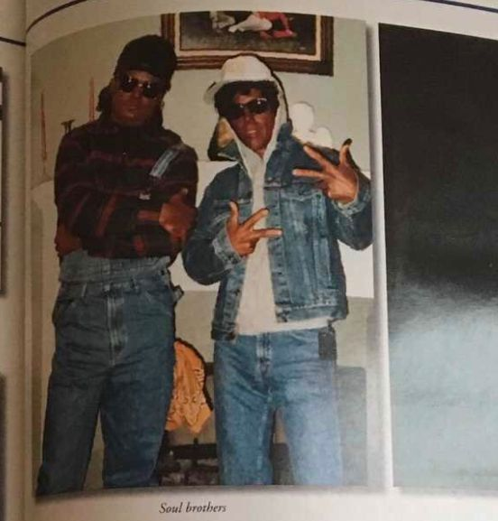 A Baton Rouge Police Department yearbook photo showing two officers in blackface.