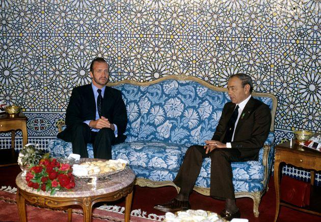 Rencontre entre Juan Carlos d'Espagne et le roi Hassan II en