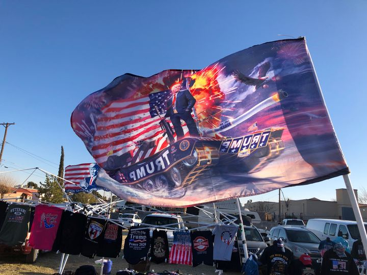 Merchandise for sale at a rally kicking off Trump's 2020 campaign.