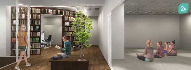 本に囲まれたTSUTAYAのフィットネス・ヨガスタジオ。無料試写会と辛酸なめ子さんのトークイベントも