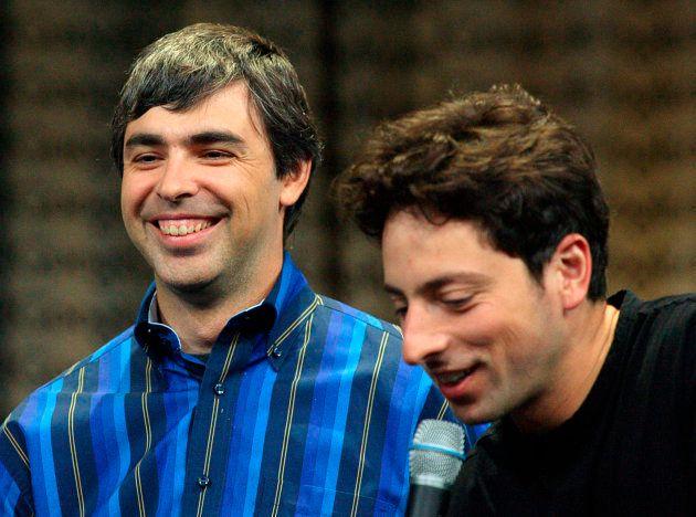 Googleの共同創業者のラリー・ペイジ(左)とセルゲイ・ブリン