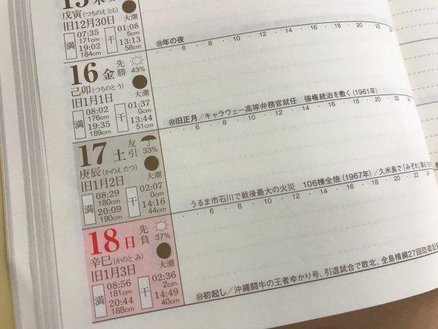 スケジュール欄には旧暦や潮の満ち引きの情報が充実。