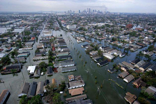 ハリケーンカトリーナーで冠水した、ニューオリーンズの街