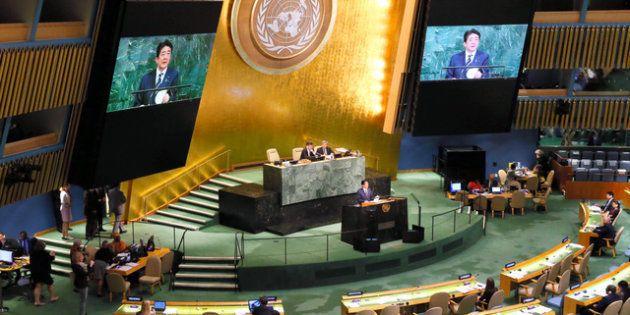 米ニューヨークの国連総会で20日、一般討論演説する安倍晋三首相=岩下毅撮影