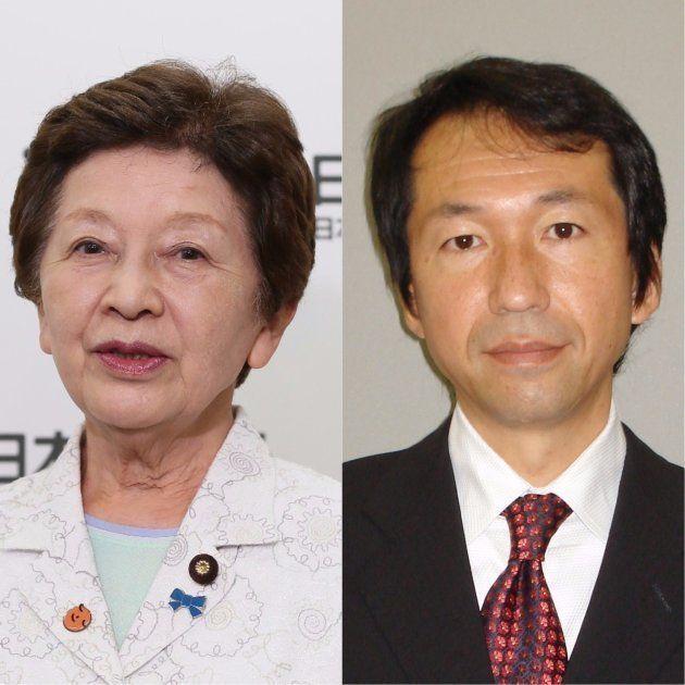 「日本のこころ」中山恭子代表(左)と自民党の福田峰之