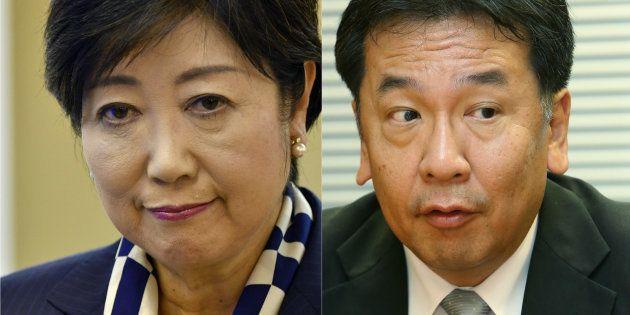小池百合子知事(左)と枝野幸男氏