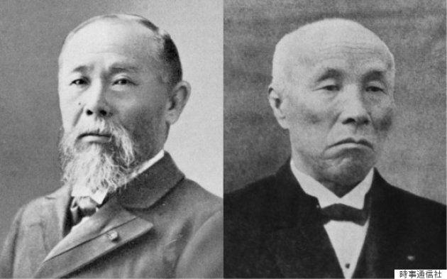 伊藤博文(左)と大隈重信