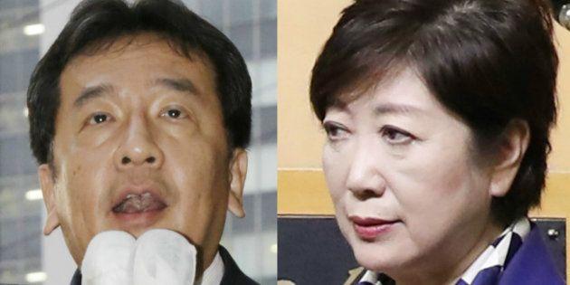 立憲民主党の枝野幸男代表(左)と「希望の党」の小池百合子代表