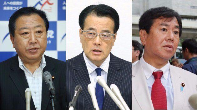 無所属で出馬する民進党の前議員。左から野田佳彦・元首相、岡田克也・元代表、原口一博・元総務相