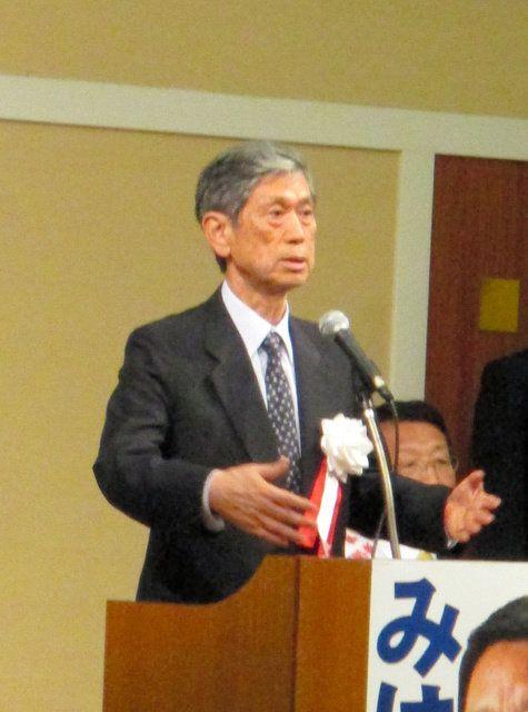 演説する高村正彦・自民党副総裁=北九州市八幡西区