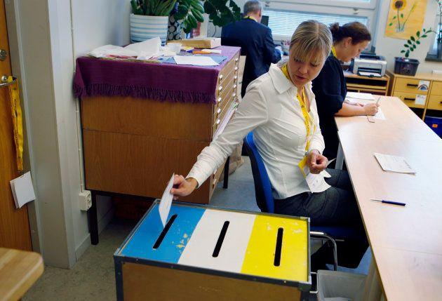 スウェーデンの総選挙(2014年)投票風景