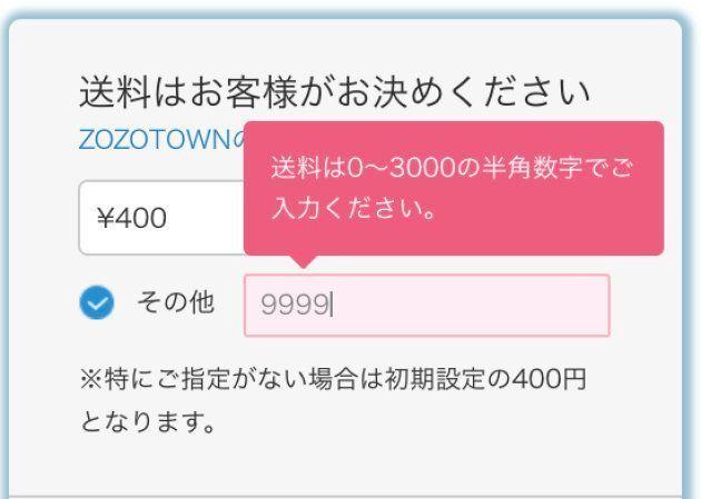 9999円と入れてみたら、アラートが出た。
