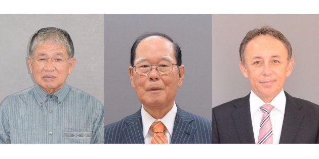 左から当選を確実にした沖縄1区の赤嶺政賢氏(69)、2区の照屋寛徳氏(72)、3区の玉城デニー氏(58)。