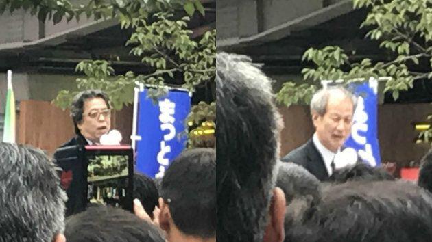 小林よしのり氏(左)と鈴木邦男氏(10月14日)