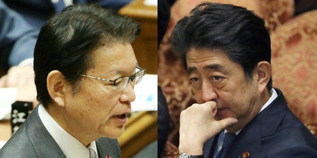 立憲民主党の長妻昭・代表代行(左)と安倍晋三首相(自民党総裁)