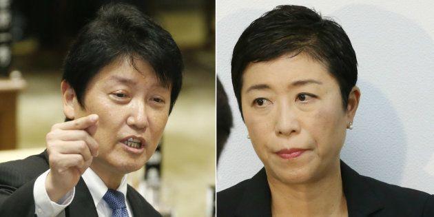 日本維新の会の足立康史氏(左)と立憲民主党の辻元清美国対委員長