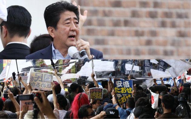 都議選最終日に秋葉原駅前で演説する安倍首相(上)と、抗議する人々(2017年7月)