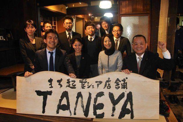 愛知県勝川で進めている、まり起業シェア店舗「TANEYA」左下が木下さん。
