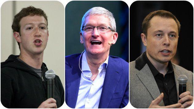 (左から)Facebookのマーク・ザッカーバーグ氏、アップルのティム・クック氏、テスラのイーロン・マスク氏。アメリカの名だたる企業の経営者らがパリ協定離脱を表明したトランプ氏を批判した。