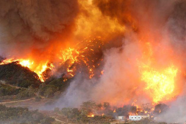 10月にカリフォルニア州で発生した大規模な山火事。焼失面積は880平方キロメートルを超えた。これは東京23区の面積(およそ619平方キロメートル)を上回る規模だ。