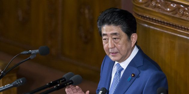 Shinzo Abe, Japan's prime minister, delivers his policy speech during a plenary session at the lower...